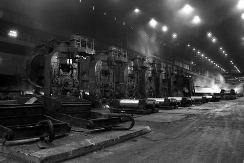The roller in the strip mill in Ravenscraig steelworks in 1985