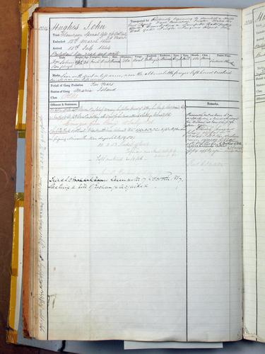 A convict record from the Archives Office of Tasmania